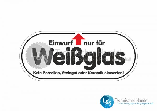 """Glascontainer Aufkleber """"Weißglas"""""""
