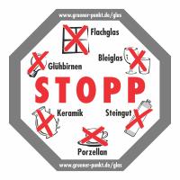 """Glascontainer Aufkleber """"STOPP"""""""